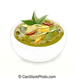 curry, pollo, tailandés, verde