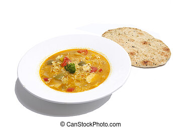 curry poulet, naan