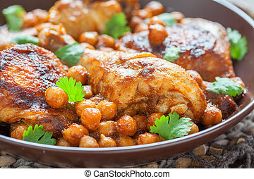 curry, poulet, pois chiches