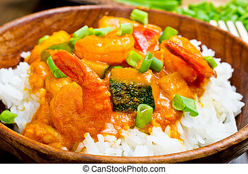 Curry with prawns, vegetables and chives - Curry with prawns...