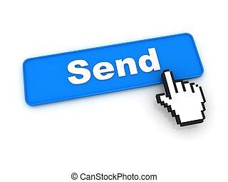curseur, bouton, envoyer, main