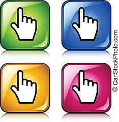 curseur, boutons, vecteur, lisser, main