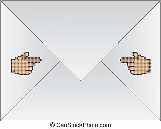curseur, enveloppe blanche, main