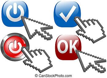 curseur, flèche, main, déclic, puissance, sur, chèque, ok, symboles