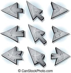 curseur, icônes, pierre, flèches