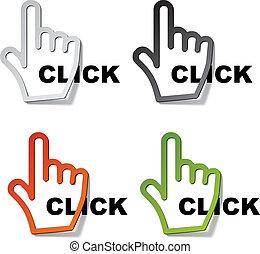 curseur, vecteur, autocollants, déclic, main