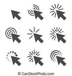 curseur, vecteur, ensemble, déclics, icône