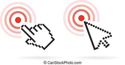 curseur, vecteur, main, icône flèche