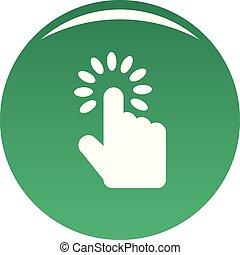 curseur, vecteur, vert, main, icône