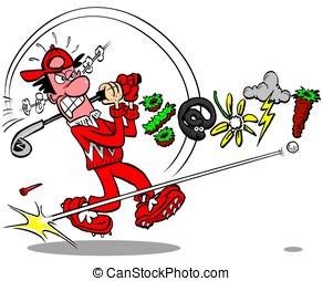 Cursing Golfer!.WBG. - Cartoon golfer cursing on white...