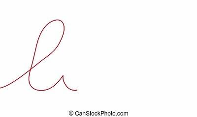 cursive., amour, une, dessin ligne, continu, soi, animation,...