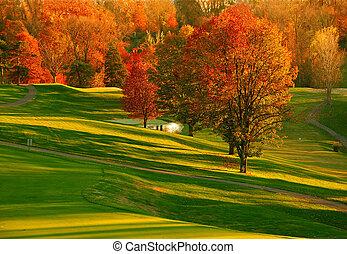 curso, 2, golf, ocaso