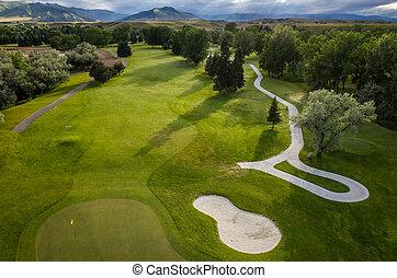 curso, aéreo, golf