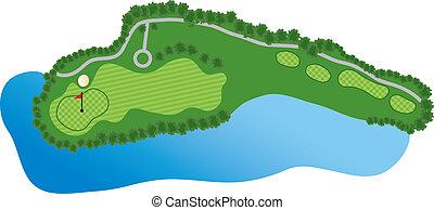 curso, agujero, golf