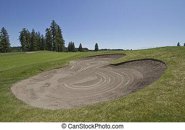 curso, arena, golf, trampa, 3