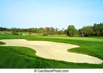 curso, arena, golf, trampa