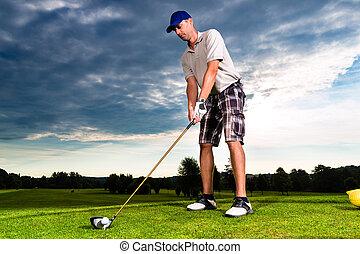 curso, balanço, golfe, jovem, jogador