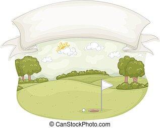 curso, bandera, golf