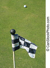 curso, bandera, pelota, golf