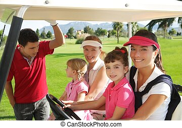 curso, calesa, golf, hijas, madres