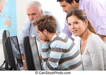 curso, computadora, gente