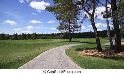 curso, golf, cabaña, vistas