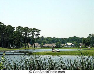 curso, golf, costero