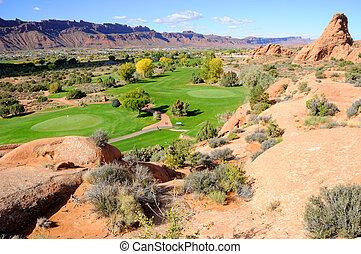 curso, golf, desierto, moab