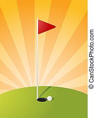curso, golf, ilustración