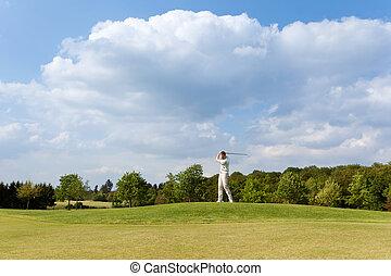 curso, golf, juego, hombre