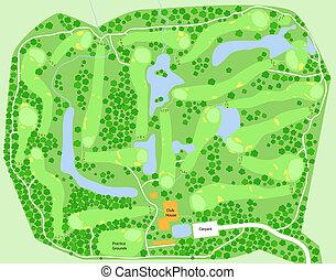 curso, golf, mapa