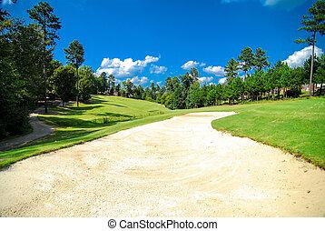 curso, golf, paisaje