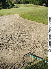 curso, golfe, bunker
