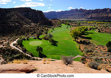 curso, golfe, deserto, moab