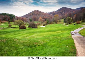 curso, golfe, paisagem