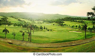 curso, golfe, panorama