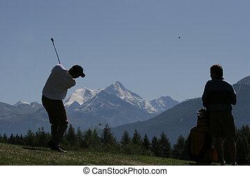 curso, hombre, columpio golf