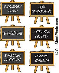 curso, língua, estrangeiro