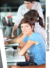 curso, mulher, jovem, negócio