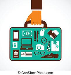 curso negócio, ilustração, -, homem, com, mala