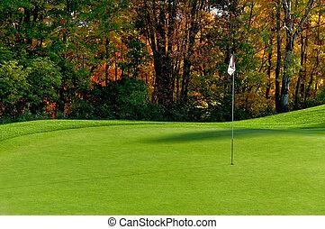 curso, poner verde, golf
