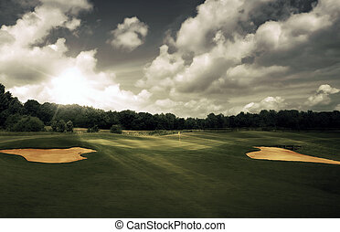 curso, tarde, golf