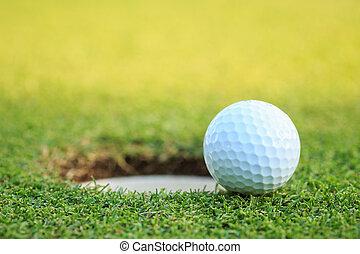 curso, taza, pelota, labio, golf
