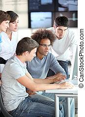 curso, treinamento, Grupo, jovem, pessoas