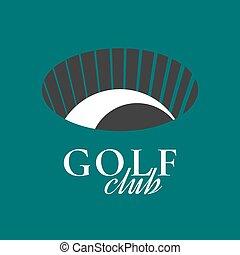 curso, vetorial, emblema, clube, golfe