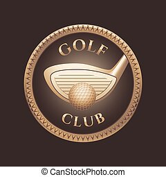 curso, vetorial, taco golfe, logotipo