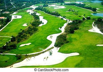 curso, vista, golfe, elevevated