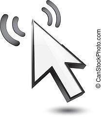 cursor, 3d, ícone