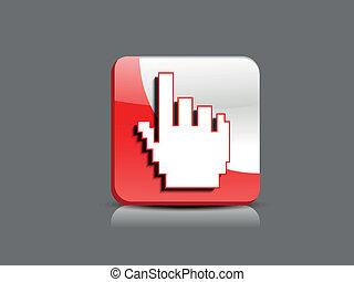 cursor, abstratos, lustroso, botão, mão