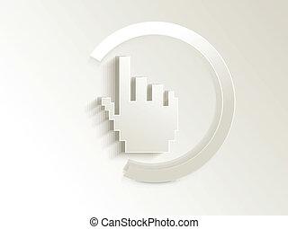 cursor, abstratos, vetorial, botão, mão